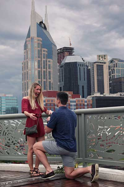 Nashville Skyline Proposal in the Rain