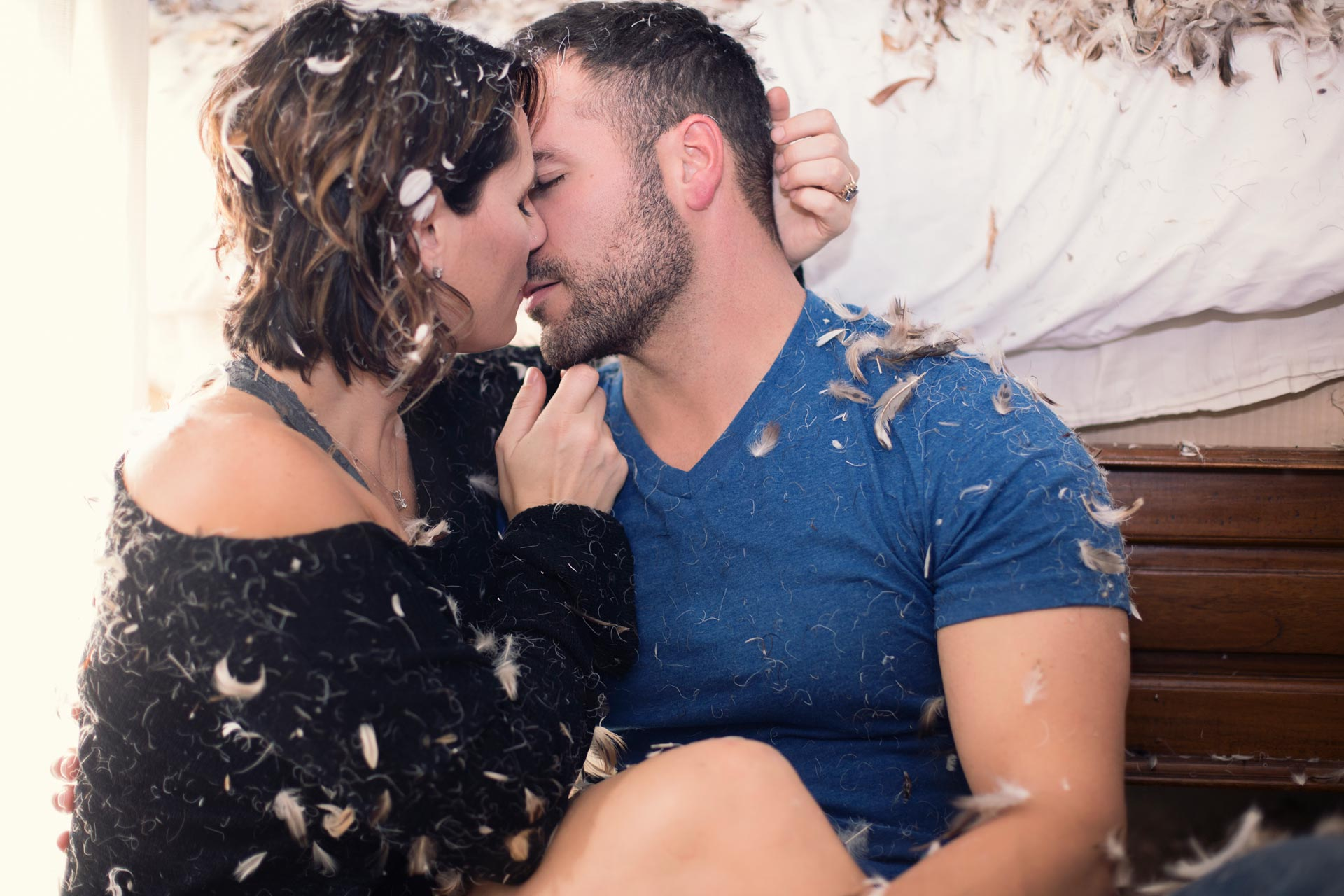 Couple Making Up After an Intense Pillow Fight